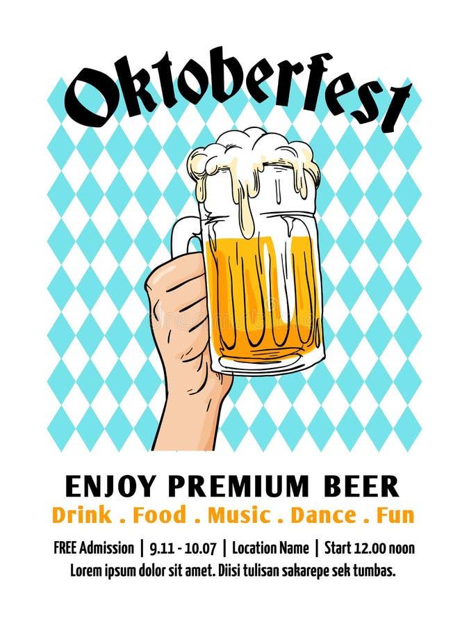 Projeto do inseto de Oktoberfest Festival da cerveja de Munich com fundo da bandeira do bavaria Vidro completo da ilustração tira ilustração do vetor
