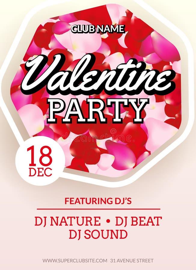 Projeto do inseto do cartaz do partido dos Valentim Celebração do evento do clube do disco de fevereiro do vetor ilustração royalty free