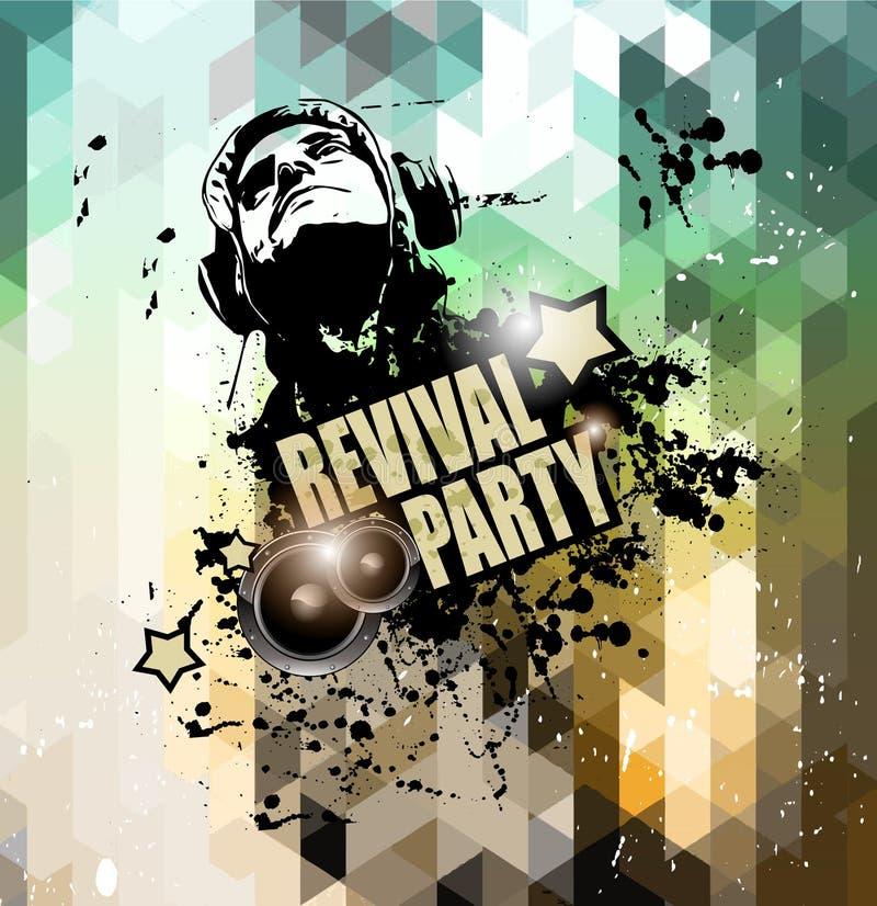 Projeto do inseto do disco para a promoção dos eventos da noite do clube da música ilustração stock