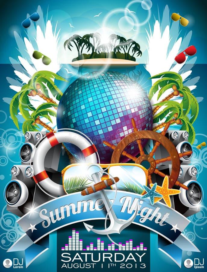Projeto do inseto do partido da praia do verão do vetor com bola do disco ilustração do vetor
