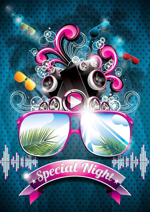 Projeto do inseto do partido da praia do verão do vetor com oradores ilustração royalty free