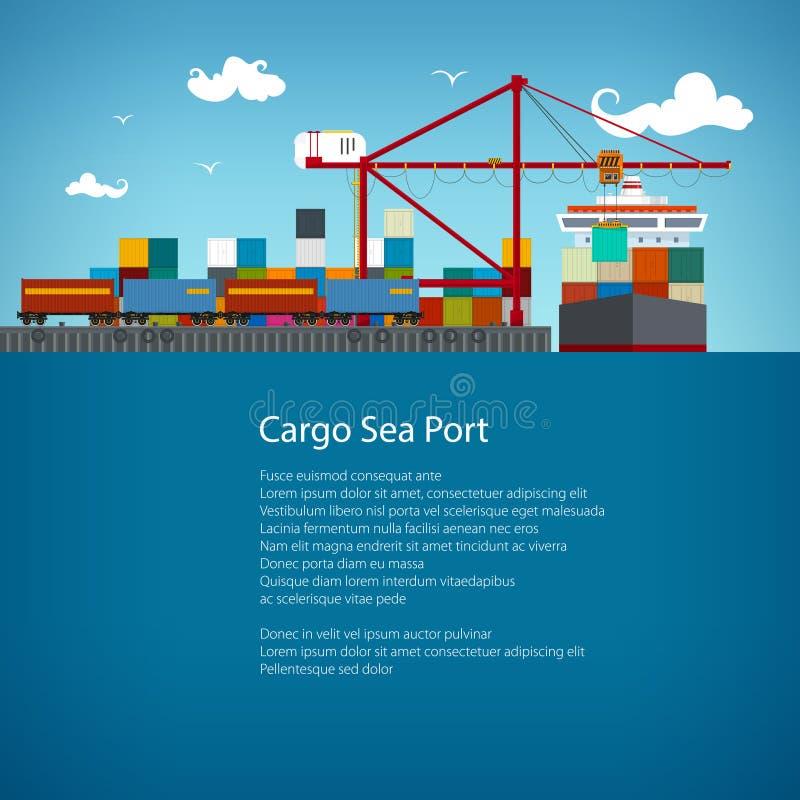 Projeto do inseto do porto marítimo da carga ilustração do vetor