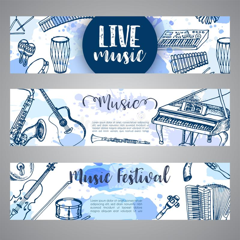 Projeto do inseto do folheto do festival de música Instrumentos de música, ilustração tirada mão no estilo da garatuja Cilindro,  ilustração royalty free