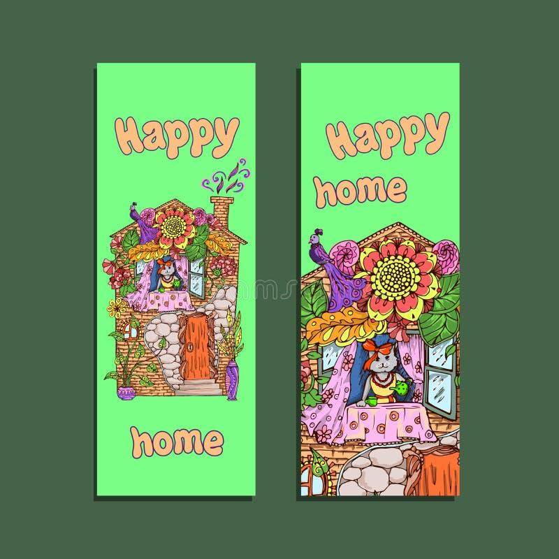 Projeto do inseto para anunciar Empresa home feliz ilustração stock
