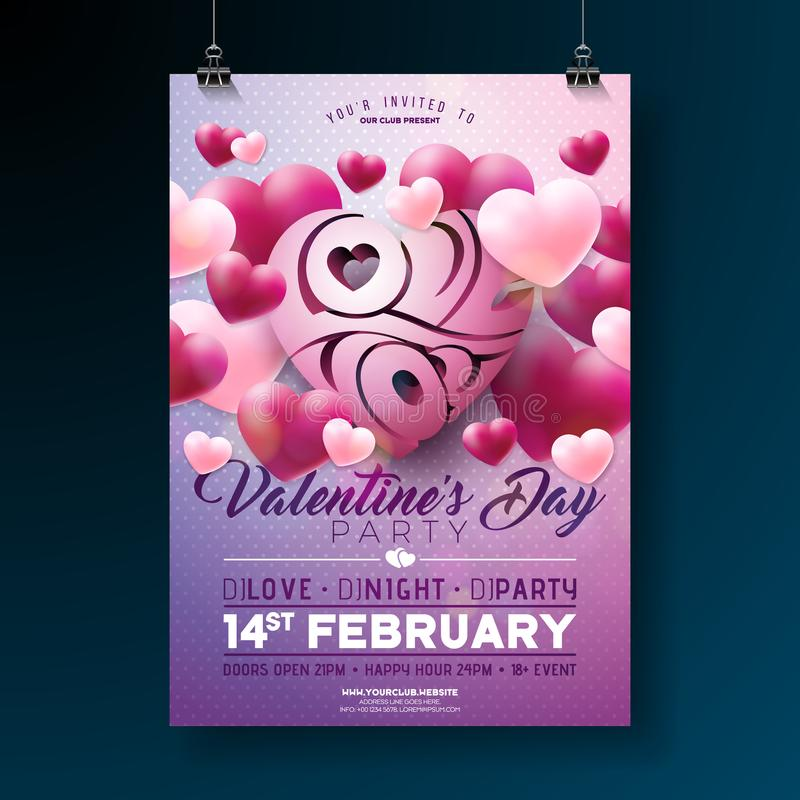 Projeto do inseto do partido do dia de Valentim do vetor com amor você letra e coração da tipografia em Violet Background celebra ilustração royalty free