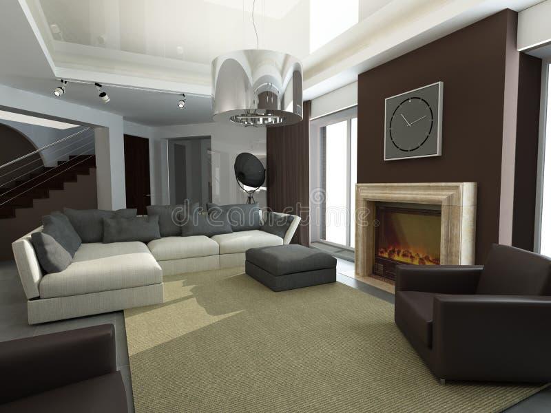 Projeto do interior. Sala de visitas ilustração royalty free