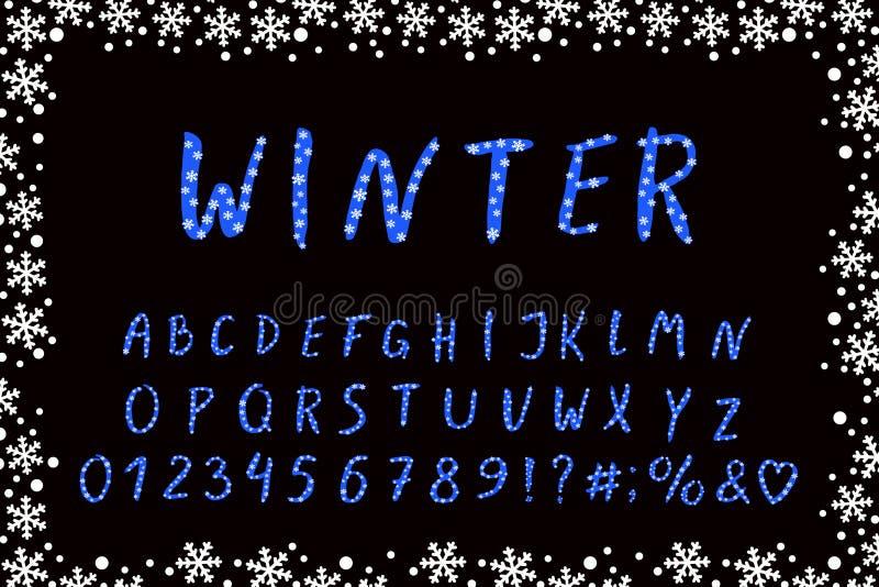 Projeto do inverno do alfabeto com flocos de neve Fonte da escova da mão Letras de caixa, números, marcas Eps 10 ilustração stock