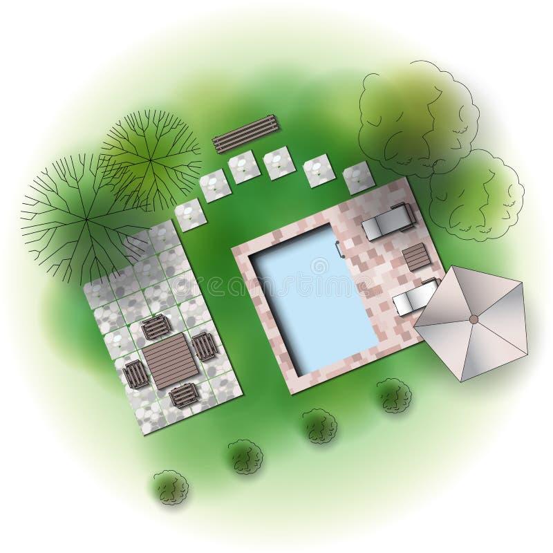 Projeto do jardim da paisagem ilustração do vetor