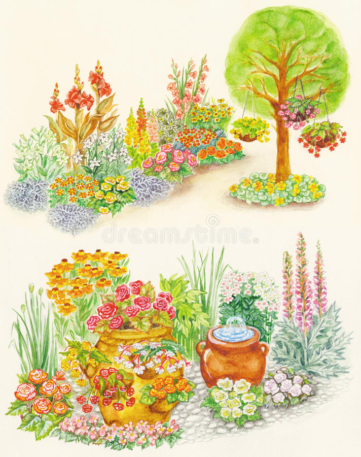 Projeto do jardim de camas de flor com flowe decorativo ilustração stock