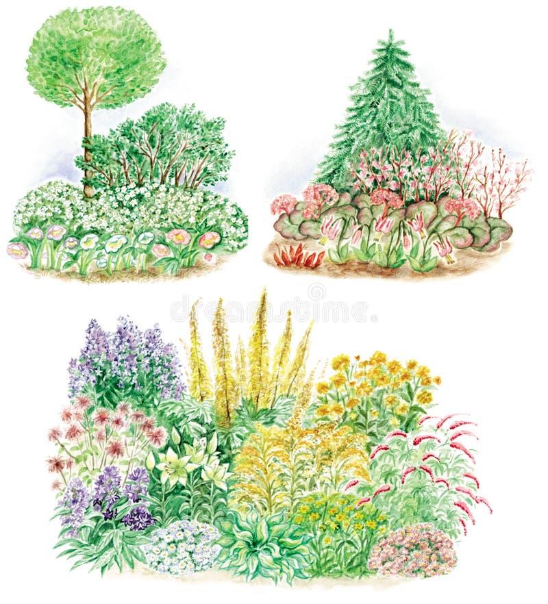 Projeto do jardim de camas florescidas ilustração royalty free
