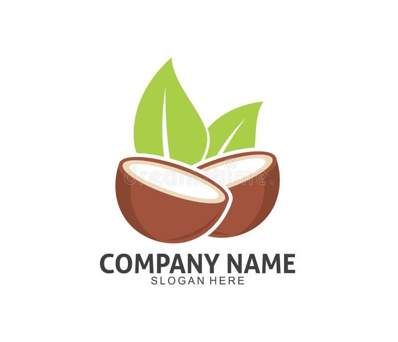 Projeto do logotipo do ícone do vetor da bebida da bebida do coco ilustração do vetor