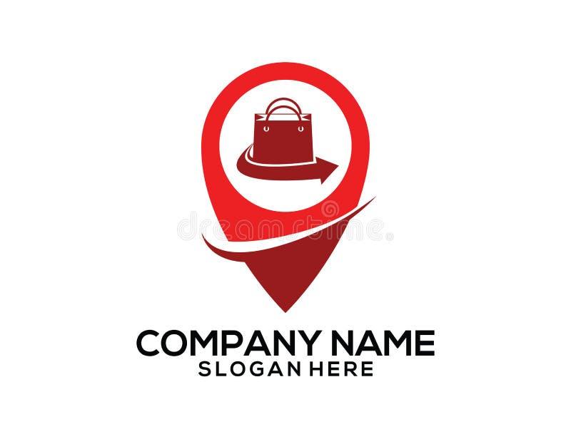 projeto do logotipo do ícone do vetor do ponteiro do lugar dos gps do mercado do shopping ilustração stock