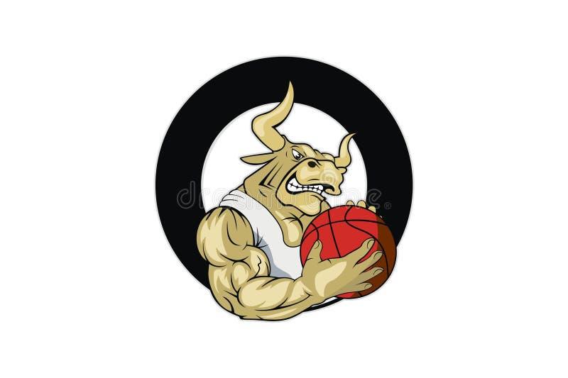 Projeto do logotipo do basquetebol de Bull ilustração do vetor