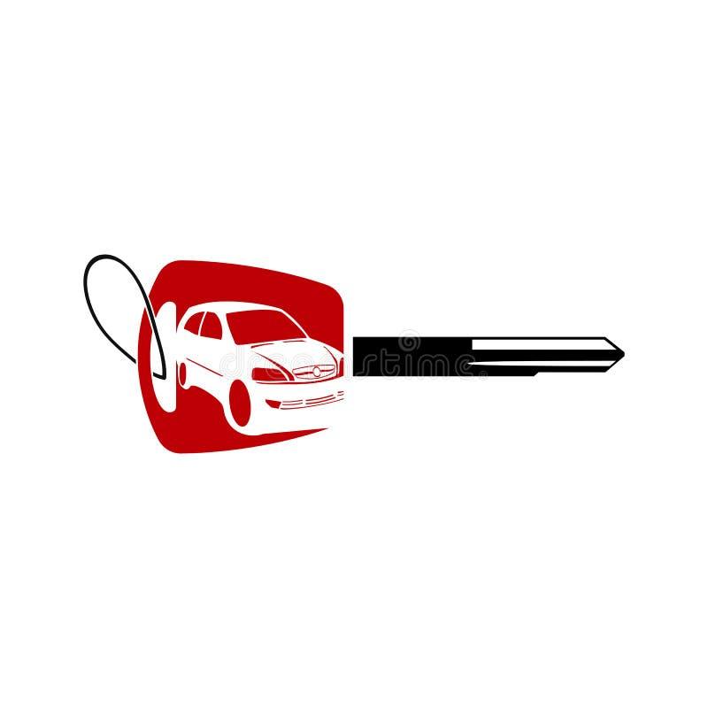 Projeto do logotipo do carro com chave, auto logotipo do carro, projeto do logotipo da silhueta, ilustração do vetor