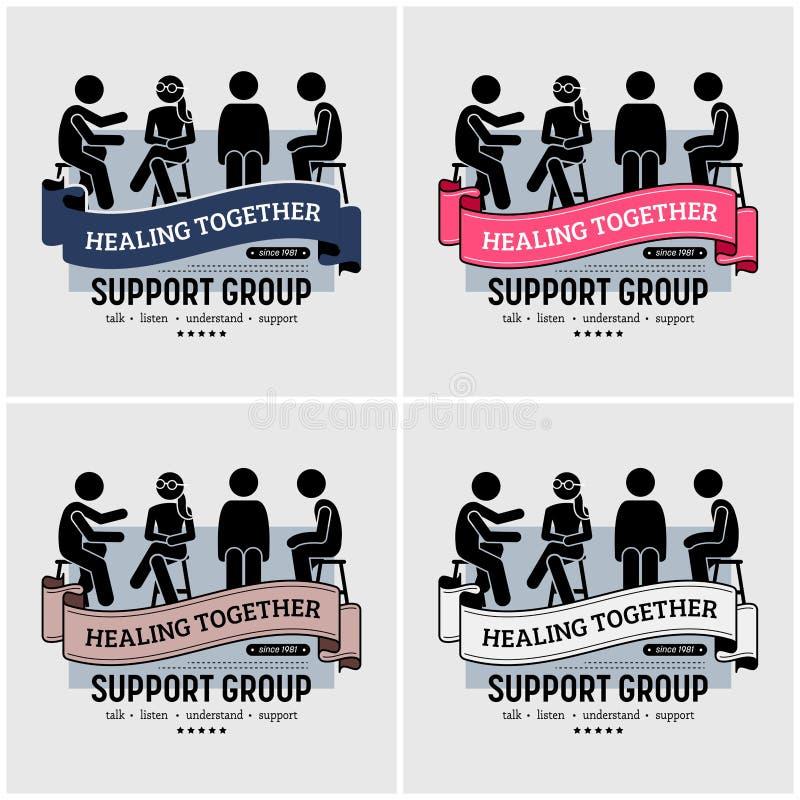 Projeto do logotipo do centro do grupo de apoio ilustração stock