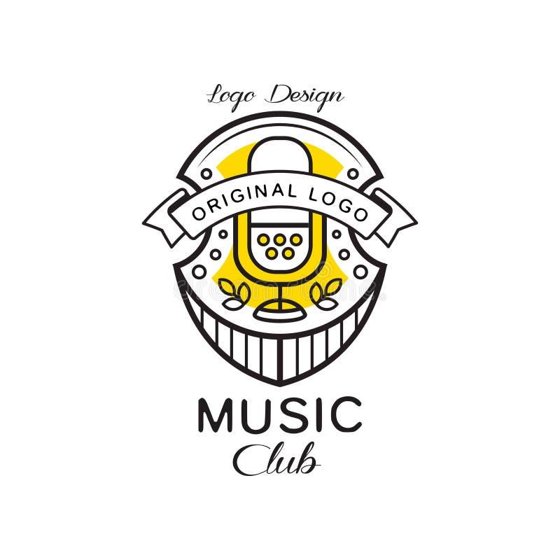 Projeto do logotipo do clube da música, protetor heráldico com microfone retro, crachá retro para o estúdio da música, loja, veto ilustração royalty free