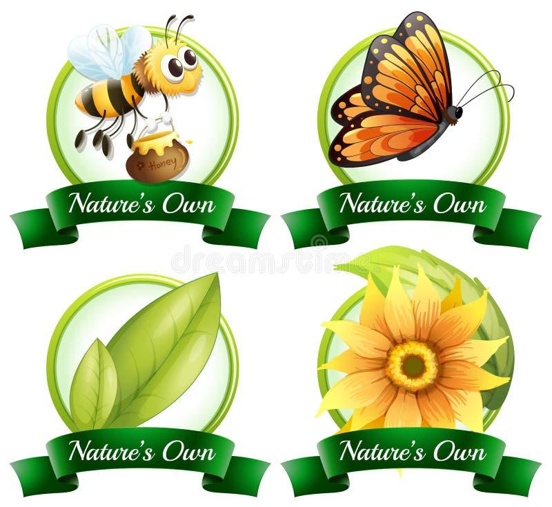Projeto do logotipo com erros e plantas ilustração stock