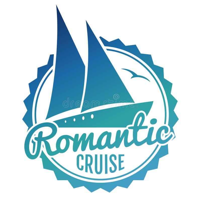 Projeto do logotipo do cruzeiro da água - yacht a bandeira do curso ilustração royalty free