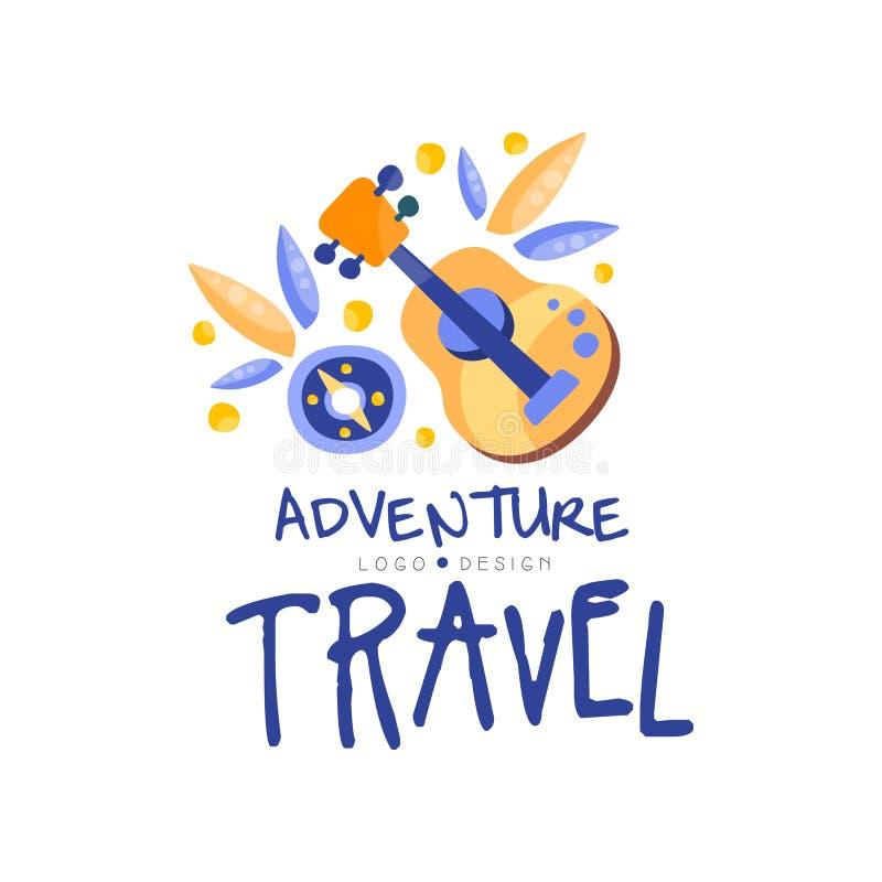 Projeto do logotipo do curso da aventura, férias de verão, excursão de fim de semana, tempo de acampamento, vetor criativo da eti ilustração do vetor