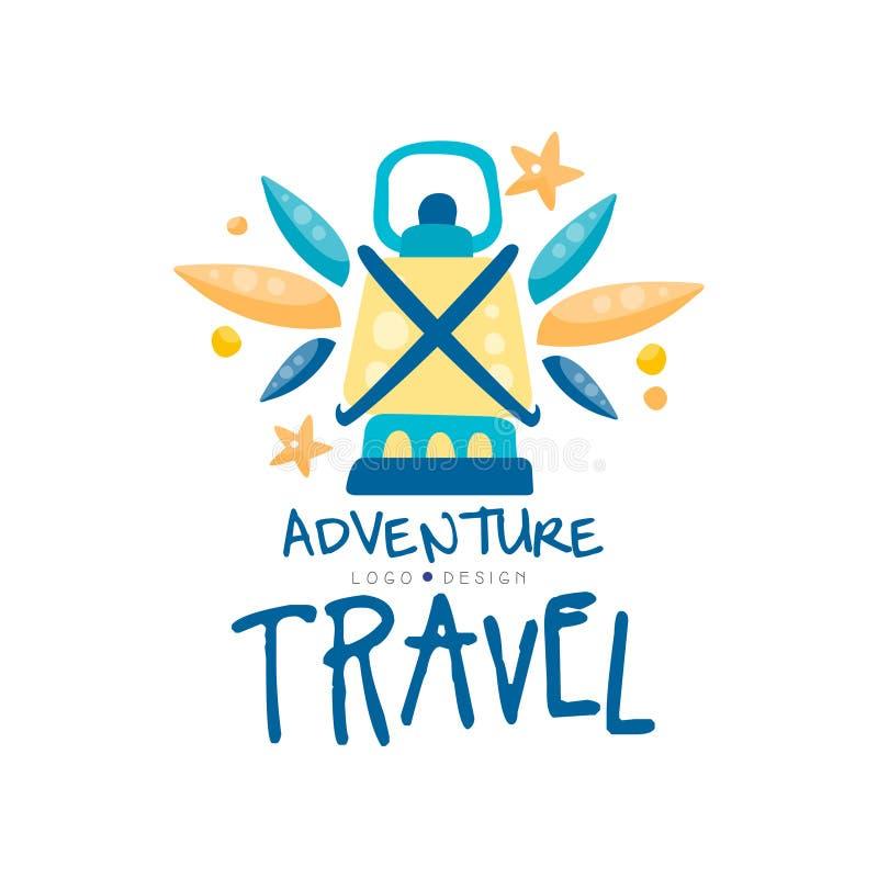 Projeto do logotipo do curso da aventura, férias de verão, feriados, ilustração criativa do vetor da etiqueta da agência de turis ilustração stock