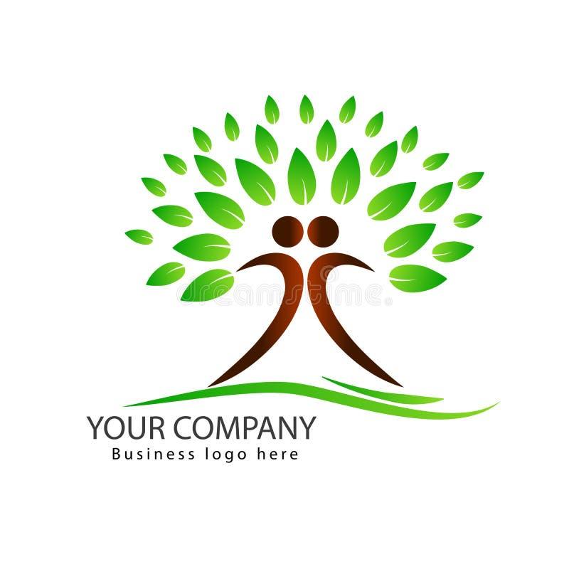 Projeto do logotipo da árvore dos povos com a árvore verde dos pares das folhas ilustração royalty free