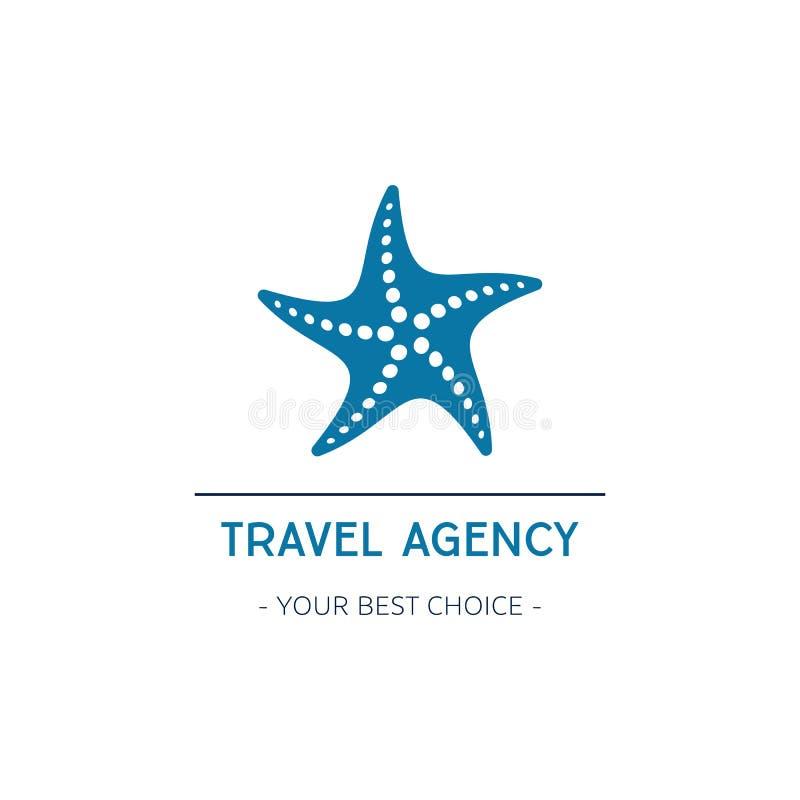 Projeto do logotipo da agência de viagens do vetor com estrela do mar ilustração do vetor