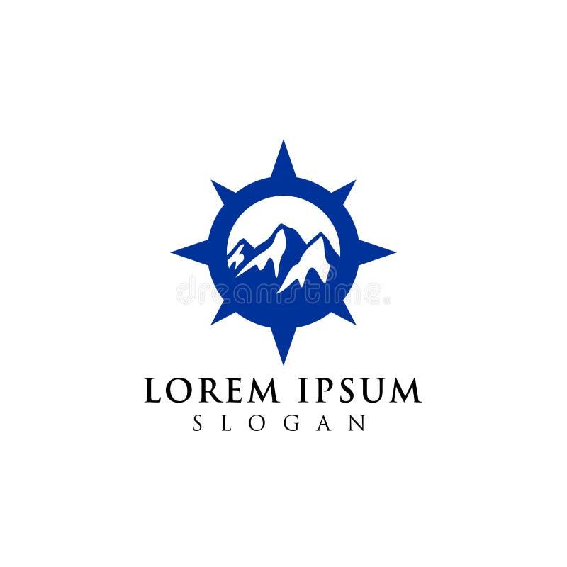 projeto do logotipo da aventura da montanha Símbolo do ícone do compasso ilustração royalty free