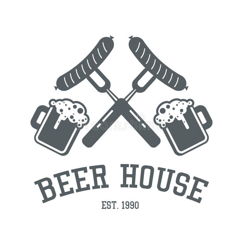 Projeto do logotipo da casa da cerveja em cores monocromáticas Te da etiqueta da barra ou do bar ilustração royalty free