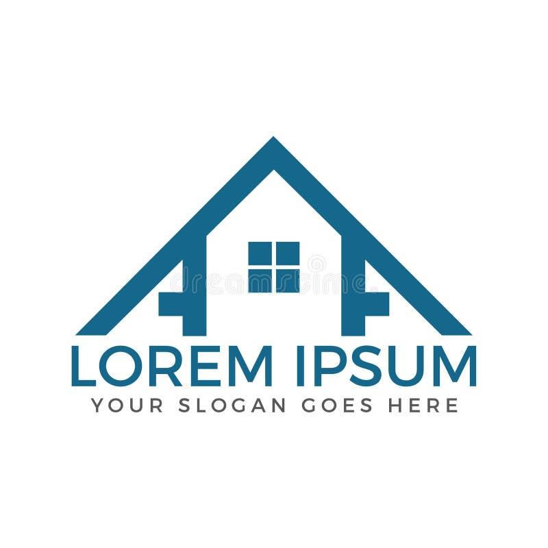 Projeto do logotipo da casa dos bens imobiliários do AA da letra ilustração stock
