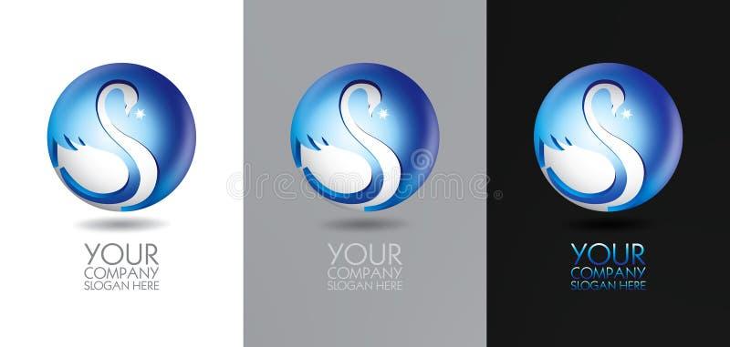 Projeto do logotipo da cisne ilustração royalty free