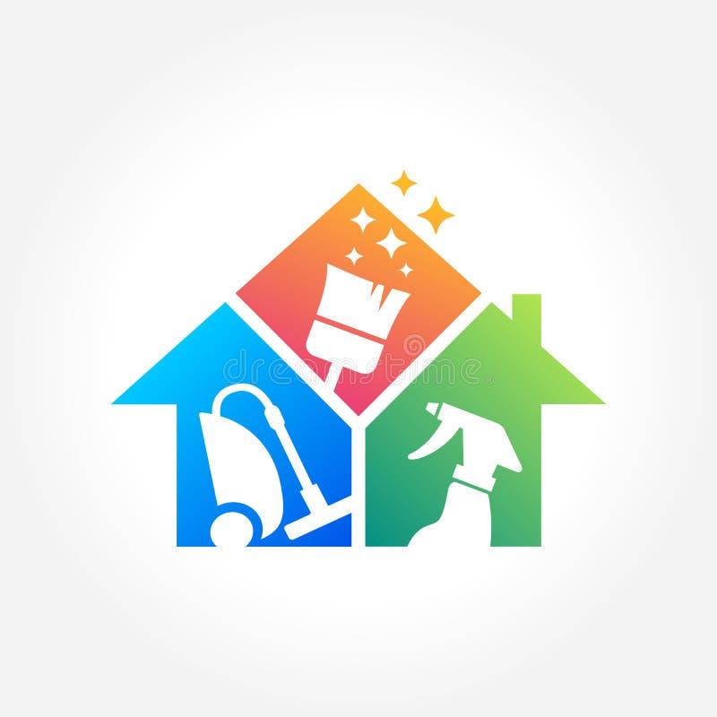 Projeto do logotipo da empresa de serviços da limpeza, conceito amigável de Eco para o interior, casa e construção ilustração stock