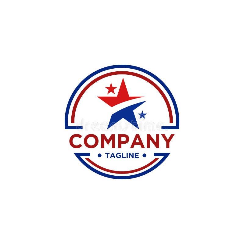 Projeto do logotipo da estrela com cor vermelha e azul ilustração royalty free