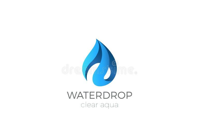 Projeto do logotipo da gota da água Aqua do ícone de Waterdrop da fita ilustração stock