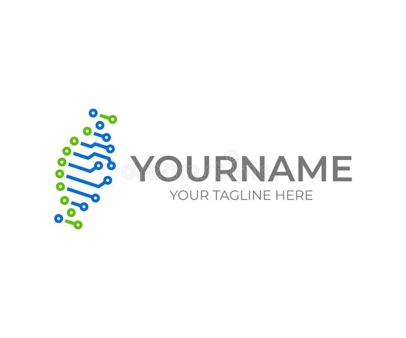 Projeto do logotipo da hélice do ADN do circuito Projeto do vetor da bioinformática ilustração do vetor