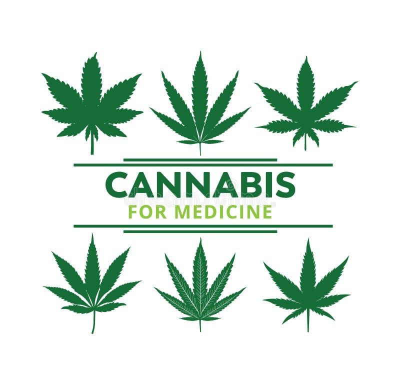 projeto do logotipo da ilustra??o da silhueta da folha da marijuana do cannabis ilustração stock