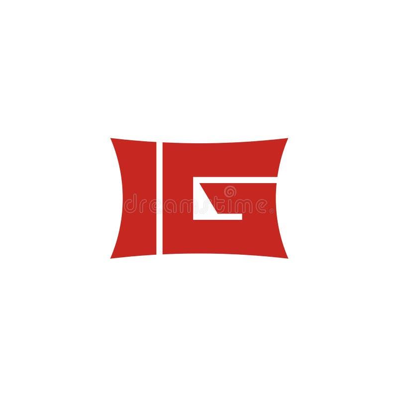 Projeto do logotipo da inicial da letra de IG imagem de stock