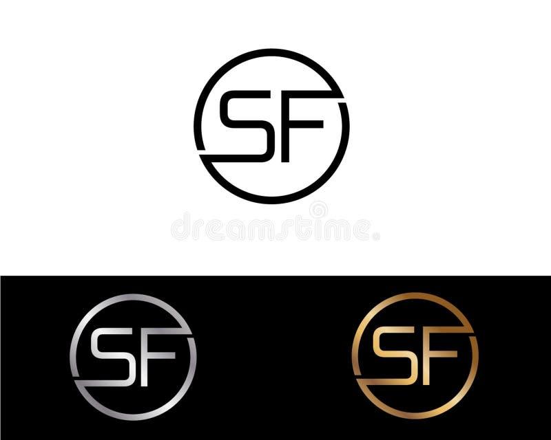Projeto do logotipo da letra da forma do círculo de SF ilustração royalty free
