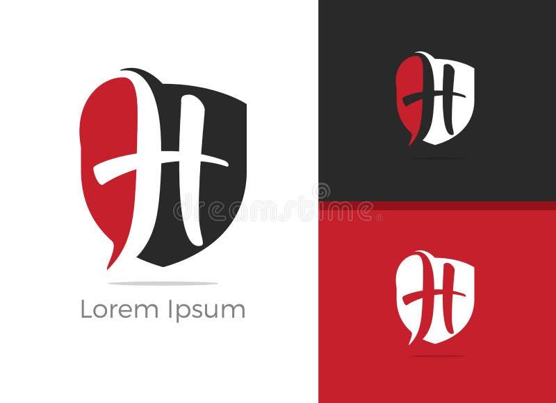 Projeto do logotipo da letra H da segurança, letra de H no ícone do vetor do protetor ilustração do vetor
