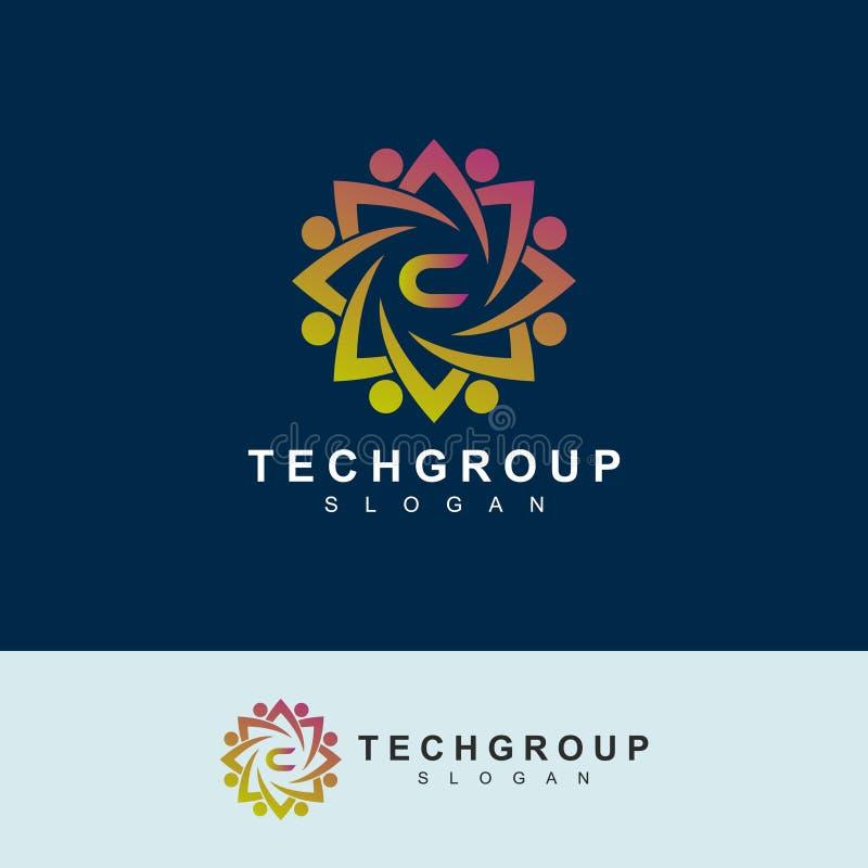 Projeto do logotipo da letra inicial C do grupo da tecnologia útil para o logotipo da empresa ilustração royalty free