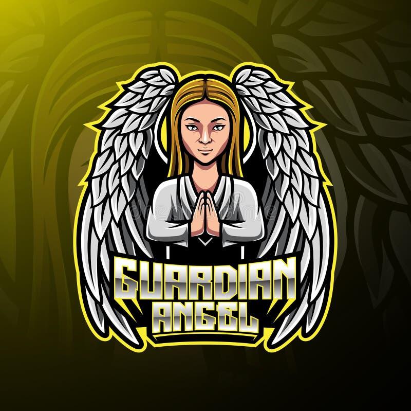 Projeto do logotipo da mascote do anjo da guarda ilustração royalty free