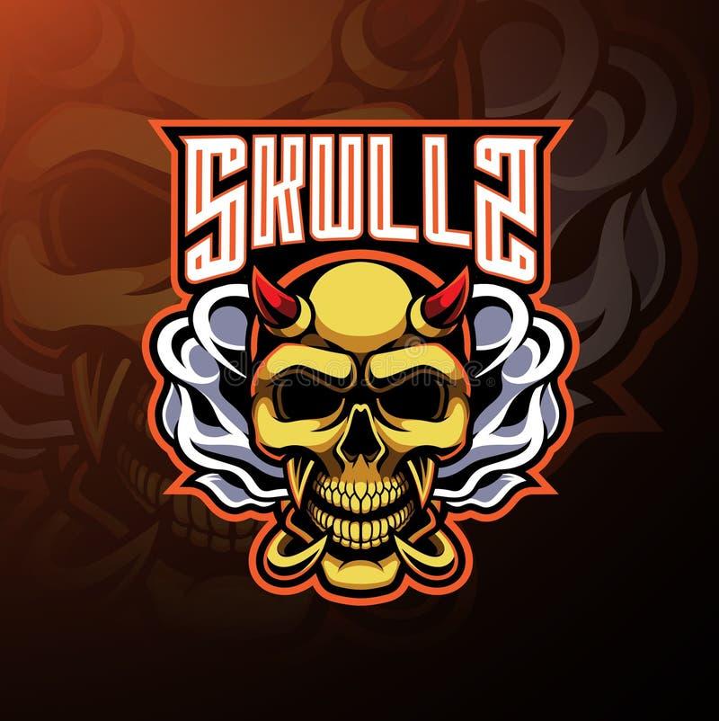 Projeto do logotipo da mascote do diabo do crânio ilustração royalty free