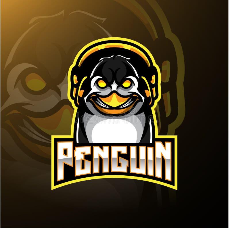 Projeto do logotipo da mascote do pinguim com fones de ouvido ilustração royalty free