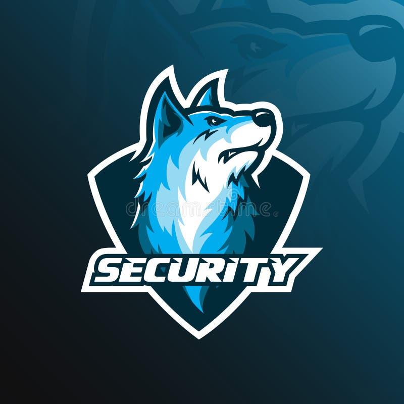 Projeto do logotipo da mascote do vetor do cão com estilo moderno do conceito da ilustração para a impressão do crachá, do emblem ilustração do vetor