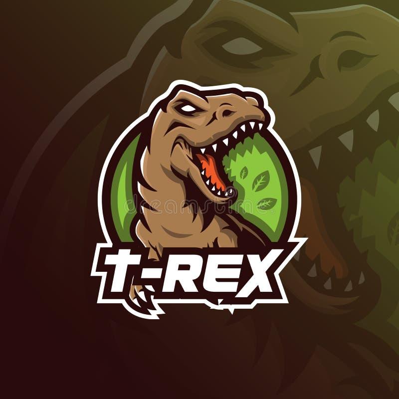Projeto do logotipo da mascote do vetor de T-rex com estilo moderno do conceito da ilustração para a impressão do crachá, do embl ilustração stock