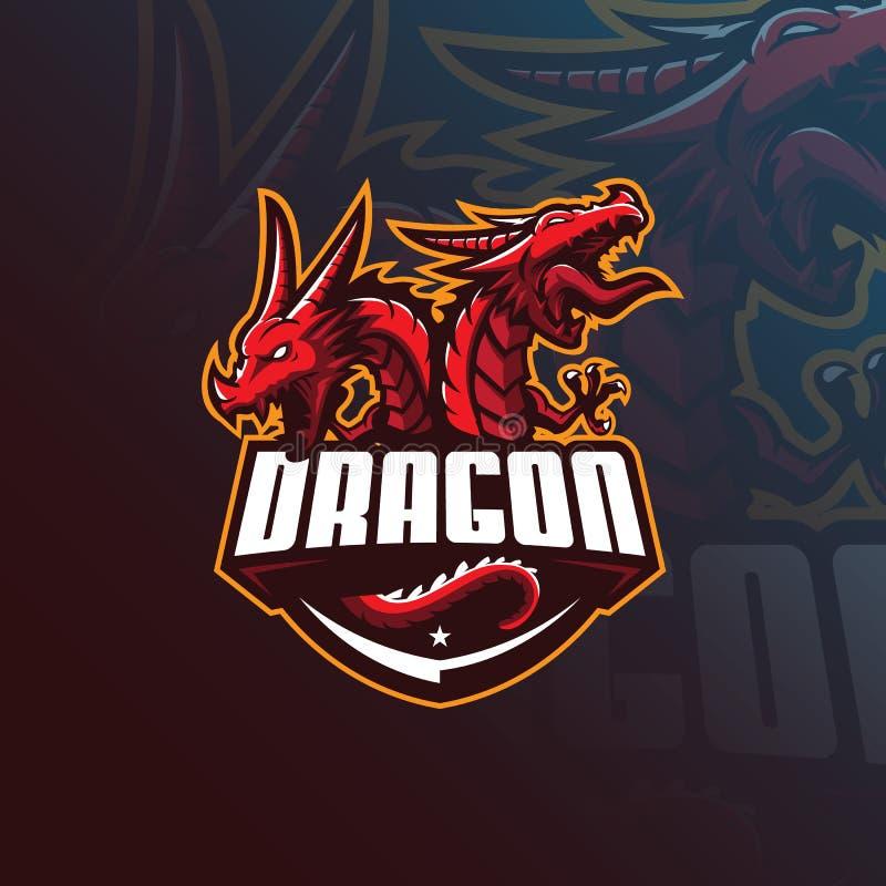 Projeto do logotipo da mascote do vetor do dragão com estilo moderno do conceito da ilustração para a impressão do crachá, do emb ilustração do vetor