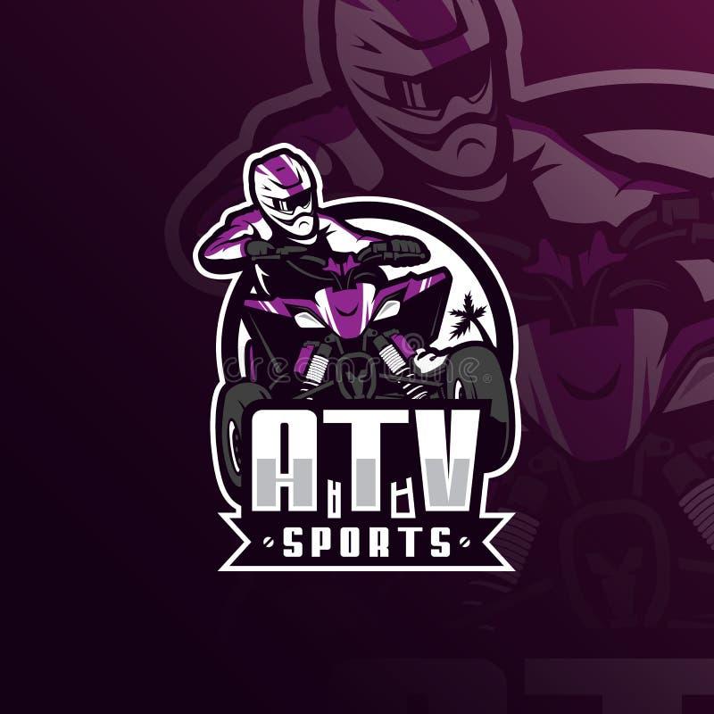 Projeto do logotipo da mascote do vetor do motocross de Atv com estilo moderno do conceito da ilustração para a impressão do crac ilustração stock
