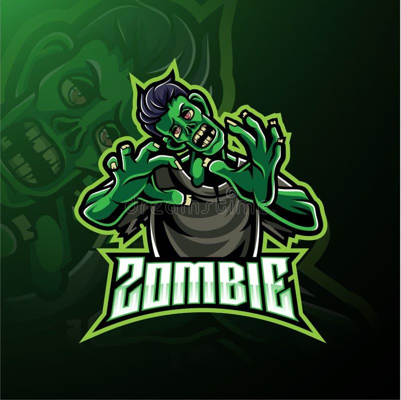 Projeto do logotipo da mascote do vivo do zombi ilustração stock