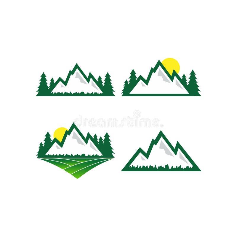 Projeto do logotipo da natureza da montanha ilustração do vetor