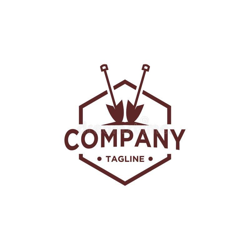 Projeto do logotipo da pá ou da pá ilustração royalty free