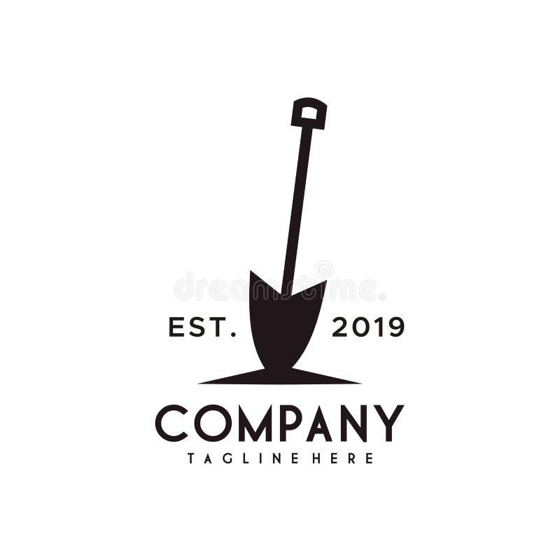 Projeto do logotipo da pá ou da pá ilustração stock